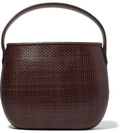 TL-180 - Ida Woven Leather Tote - Dark brown