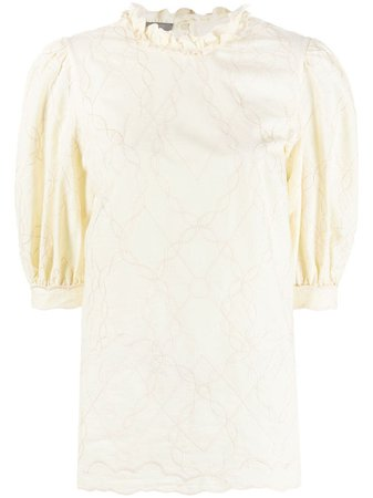 Shop yellow Alberta Ferretti puff-sleeve blouse with Express Delivery - Farfetch