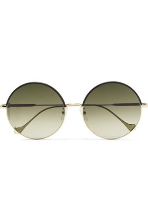 Loewe | Round-frame leather-trimmed gold-tone sunglasses | NET-A-PORTER.COM