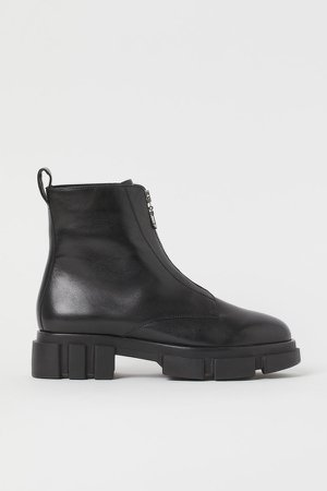 Zip-front Leather Boots - Black