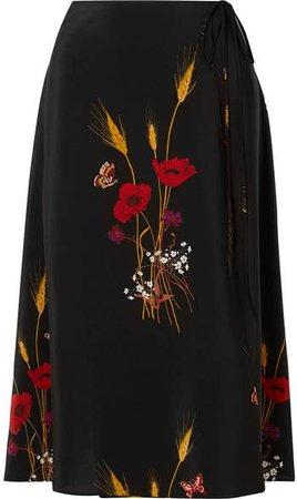 Floral-print Silk Crepe De Chine Wrap Skirt - Black