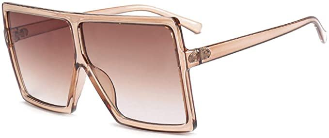 Amazon.com: JUSLINK Oversized Sunglasses for Women Men, Square Flat Top Fashion Shades (Champagne): Clothing