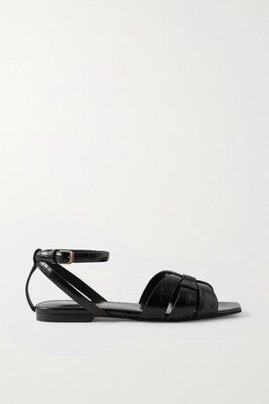 Tribute Croc-effect Leather Sandals - Black