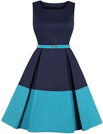 Wellwits Women's Color Block Pocket Belt 1940s Vintage Work Career Dress at Amazon Women's Clothing store