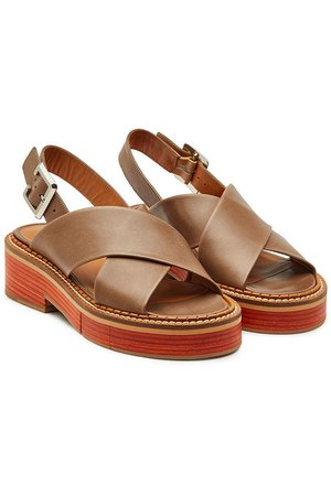 Robert Clergerie - Anchor Leather Sandals - brown