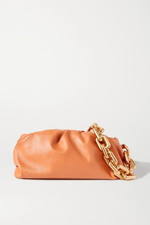 The Chain Pouch Gathered Leather Clutch - Light brown