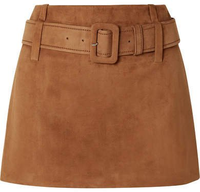 Belted Suede Mini Skirt - Brown