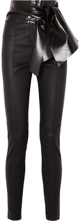 Bow-embellished Stretch-leather Skinny Pants - Black