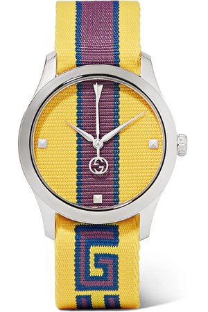 Gucci | Striped canvas and stainless steel watch | NET-A-PORTER.COM