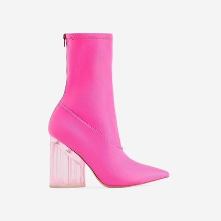 Niko Perspex Block Heel Pointed Ankle Sock Boot In Neon Pink Lycra | EGO