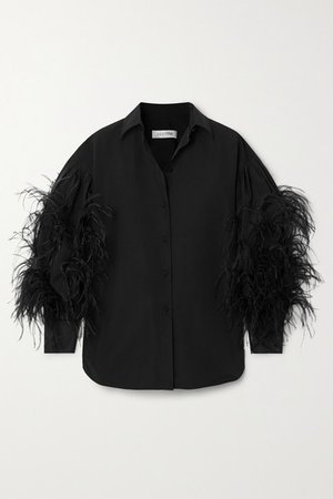Valentino | Feather-trimmed cotton-blend poplin blouse | NET-A-PORTER.COM