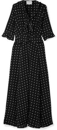 we are Ruby Ruffled Polka-dot Silk Crepe De Chine Robe - Black