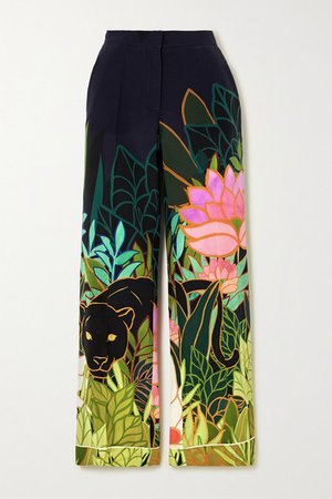 Printed Silk Crepe De Chine Wide-leg Pants - Navy