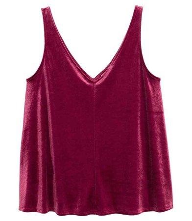 H&M blouse tank  velvet