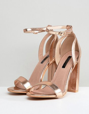 Lost Ink Wide Fit | Lost Ink Wide Fit Rose Gold Blaise Block Heeled Sandals
