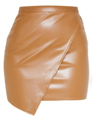leather skirt prettylittlething camel