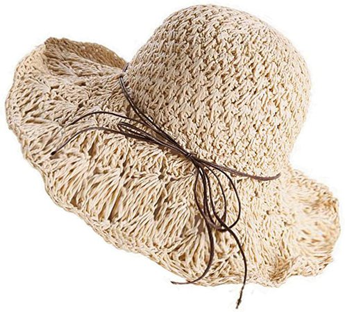 Foldable Handmade Weave Wide Brim Floppy Sun Straw Hat Bowknot Lace Shade Packable Summer for Women Ladies Off-White at Amazon Women's Clothing store
