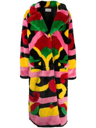 Kirin abstract-print Faux Fur Coat - Farfetch