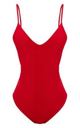 Shape Red Slinky Plunge Bodysuit.Bodysuits | PrettyLittleThing