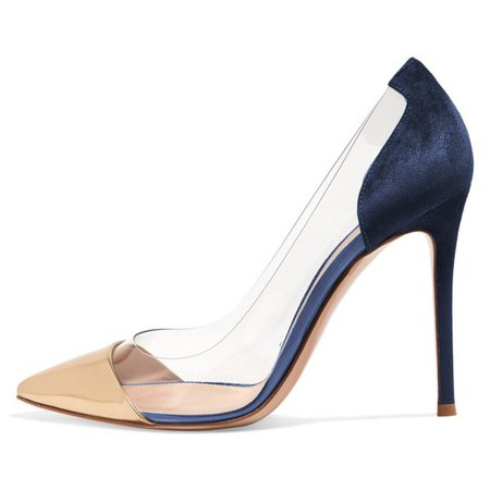 Women's Gold And Navy Clear Heels Stiletto Pumps for Work, Formal event | FSJ