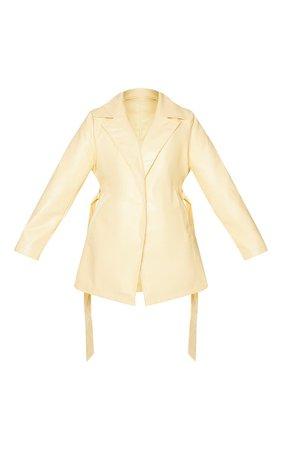 Plus Cream Faux Leather Long Line Blazer | PrettyLittleThing USA