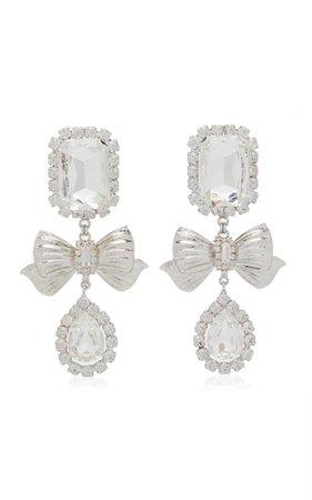 Square Crystal Bow Drop Earrings By Alessandra Rich   Moda Operandi