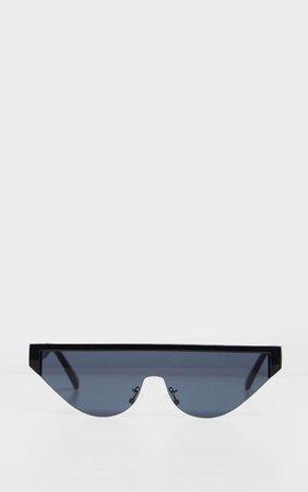 Black Flat Top Brow Bar Slim Visor Sunglasses | PrettyLittleThing