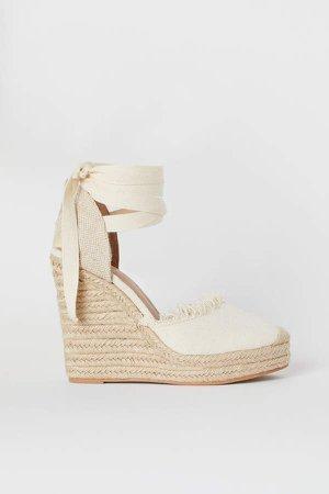Wedge-heel Platform Sandals - White