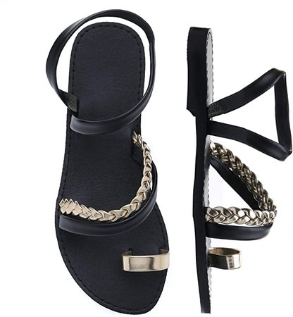 Shoe'N Tale Women Toe Ring Gladiator Flat Sandals Elegant Strappy Flip Flops Casual Comfortable Beach Shoes