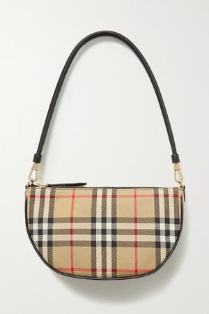 Checked Canvas Shoulder Bag - Beige