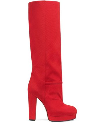 Red Gucci ribbed knee-high boots - Farfetch