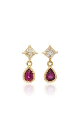 18K Gold, Diamond & Ruby Earrings by Yi Collection | Moda Operandi