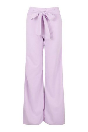Side Split Belted Wide Leg Trouser | boohoo lilac