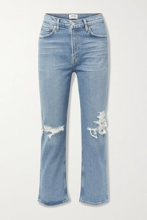 Mid denim Wilder organic mid-rise distressed straight-leg jeans | AGOLDE | NET-A-PORTER