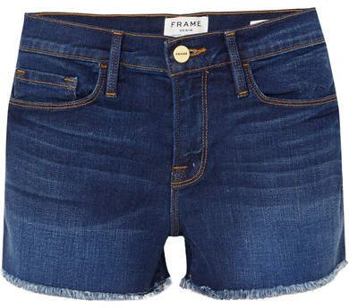 Le Cutoff Frayed Denim Shorts - Mid denim