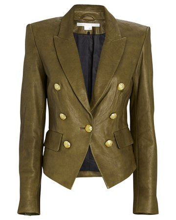 Veronica Beard Cooke Leather Dickey Blazer   INTERMIX®