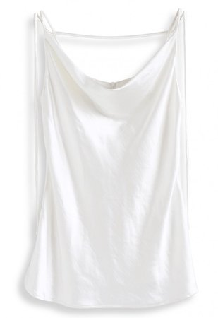 Cowl Neck Flare Hem Satin Cami Top in White - NEW ARRIVALS - Retro, Indie and Unique Fashion