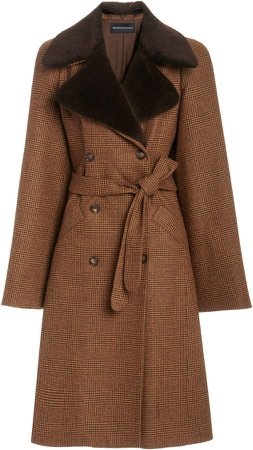 Brandon Maxwell Oversized Wool Plaid Trench Coat