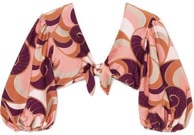 Adriana Degreas - Nautilus Tie-front Printed Bikini Top - Blush