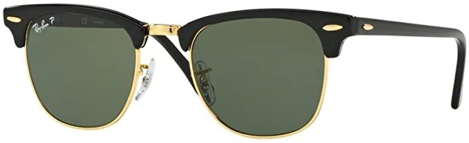 Amazon.com: Ray_Ban Clubmaster Sunglasses Tortoise & Gold Frame w/Solid Black G15, 51mm …: Clothing