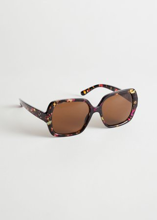 Squared Tortoise Sunglasses - Multi Tortoise - Sunglasses - & Other Stories