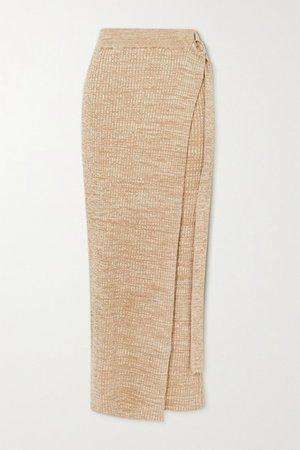 Matilde Layered Ribbed Cotton Maxi Skirt - Neutral