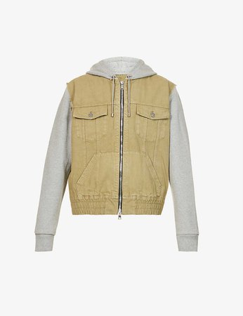 BALMAIN - Drawstring-hooded faded cotton-jersey and denim jacket | Selfridges.com