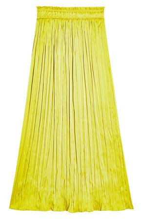 Topshop Pleated Crushed Satin Skirt yellow