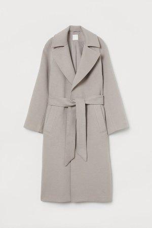 Belted Felted Coat - Brown