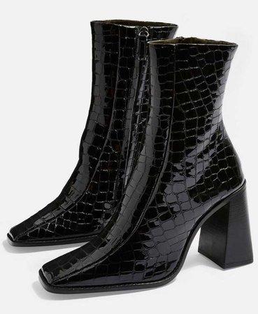 TOPSHOP Black Hurricane Croc Boots