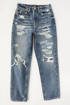 BDG High-Waisted Slim Straight Jean – Ripped Medium Wash | Urban Outfitters