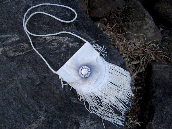 Beaded White Deerskin Leather Fringe Bag Cross Body Bag | Etsy
