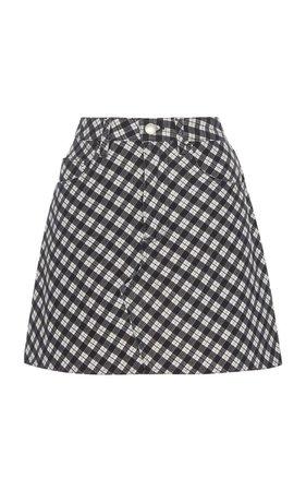 ALEXACHUNG Checkered Cotton-Blend Mini Skirt
