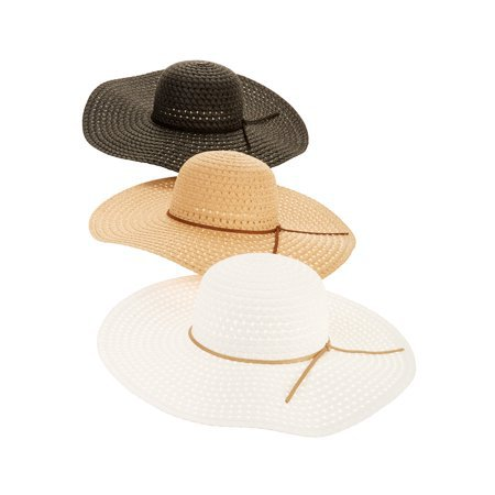 Time and Tru - Time and Tru Women's Straw Floppy Hat 3-pack - Walmart.com beige white